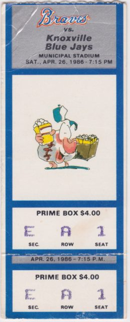 1986 Greenville Braves ticket stub vs Knoxville Blue Jays