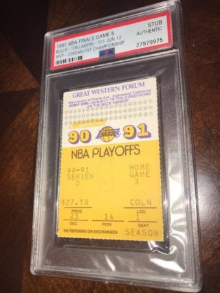 1991 Michael Jordan 1st Title Ticket Stub NBA Finals Game 5 Bulls at Lakers
