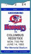 1993 MiLB Greensboro Hornets ticket stub vs Columbus Redstixx