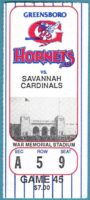 1993 MiLB Greensboro Hornets ticket stub vs Savannah Cardinals