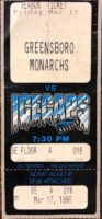 1995 ECHL Raleigh IceCaps Ticket Stub vs Greensboro Monarchs