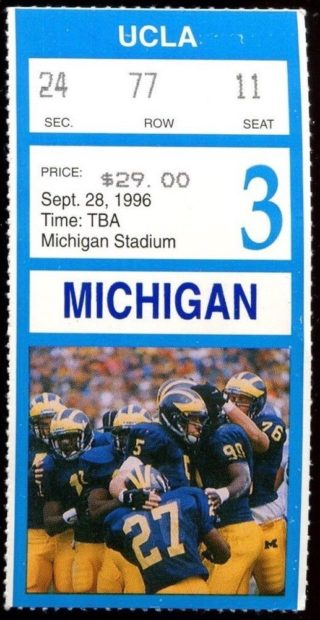1996 Tom Brady Debut ticket stub UCLA at Michigan