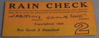 1920 World Series Game 2 Ticket Stub Indians at Dodgers