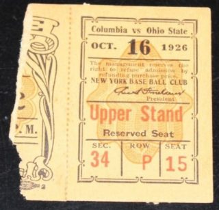 1926 NCAAF Ohio State ticket stub vs Columbia Polo Grounds