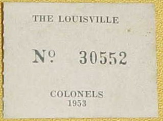 1953 Louisville Colonels Harry Agganis Ticket Stub