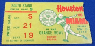 1958 NCAAF Miami ticket stub vs Houston