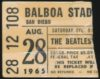 1965 Beatles San Diego Balboa Stadium ticket stub