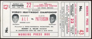 1965 Boxing Muhammad Ali vs Floyd Patterson Full Ticket