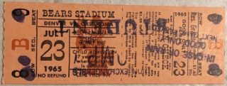 1965 Denver Bears ticket vs Oklahoma City 89ers