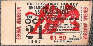 1967 CPHL Oklahoma City Blazers ticket stub vs Tulsa Oilers