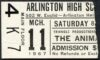 1967 The Animals concert ticket stub Arlington High School