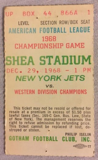1968 AFL Championship Game ticket stub Raiders at Jets