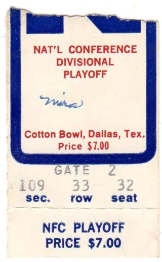 1970 NFL Playoffs Dallas Cowboys ticket stub vs Detroit Lions