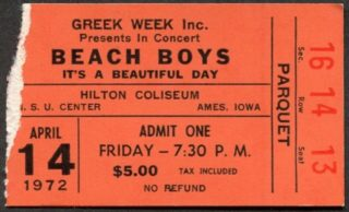 1972 The Beach Boys ticket stub Hilton Coliseum Ames