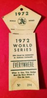 1972 World Series Press Pass Oakland Athletics