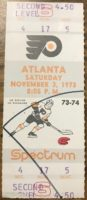 1973 Philadelphia Flyers ticket stub vs Atlanta Flames