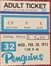 1973 Pittsburgh Penguins ticket stub vs St. Louis Blues