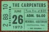 1973 The Carpenters ticket stub Chattanooga Memorial Auditorium