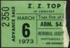 1973 ZZ Top concert ticket stub Chattanooga Memorial Auditorium