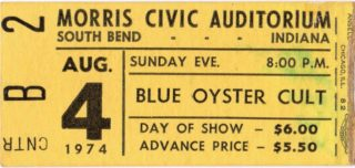 1974 Blue Oyster Cult and Kiss ticket stub South Bend