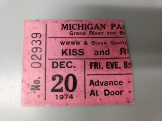 1974 Kiss and Rush ticket stub Detroit