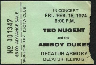 1974 Ted Nugent Amboy Dukes ticket stub Decatur Armory