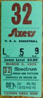 1975 Philadelphia 76ers Ticket Stub vs New York Knicks