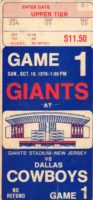 1976 New York Giants ticket stub vs Dallas Cowboys