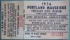 1976 Portland Mavericks ticket stub