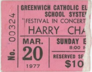 1977 Harry Chapin Greenwich High School ticket stub