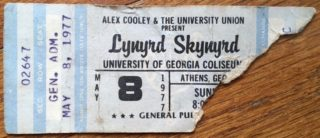 1977 Lynyrd Skynyrd ticket stub Athens University of Georgia Coliseum