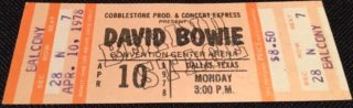 1978 David Bowie ticket Dallas Convention Center Arena