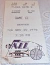 1978 New Orleans Jazz ticket stub vs Denver Nuggets