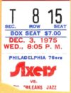 1978 Philadelphia 76ers ticket stub vs New Orleans Jazz