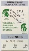 1979 NCAAF Michigan State ticket stub vs Illinois