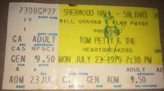 1979 Tom Petty and the Heartbreakers ticket Sherwood Hall Salinas