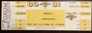 1980 Larry Murphy 1st goal Los Angeles Kings unused ticket vs Quebec Nordiques