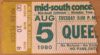 1980 Queen ticket stub from Memphis Mid South Coliseum