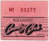 1981 Jim Carroll and Tonio K Country Club Ticket Stub