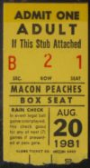 1981 Macon Peaches Ticket Stub