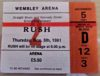 1981 Rush Wembley Arena Ticket Stub