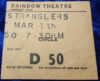 1981 The Stranglers ticket stub Rainbow Theatre London