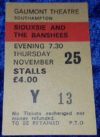 1982 Siouxsie and the Banshees Gaumont Theatre Southampton London ticket stub