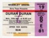 1983 Duran Duran ticket stub Wembley Arena