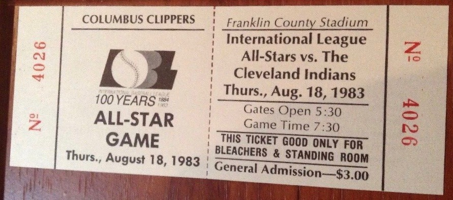 1983 International League All Stars ticket stub vs Cleveland Indians