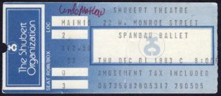 1983 Spandau Ballet Concert Ticket Stub Shubert Theatre Chicago