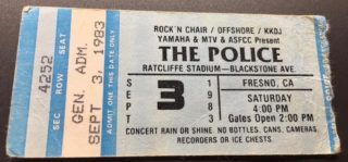 1983 The Police concert ticket stub Fresno