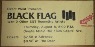 1985 Black Flag ticket stub Omaha Music Hall