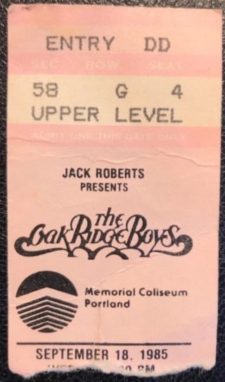 1985 Oak Ridge Boys Country Music Ticket Stub Portland