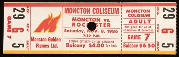 1986 Moncton Golden Flames ticket stub vs Rochester 4/3/1986